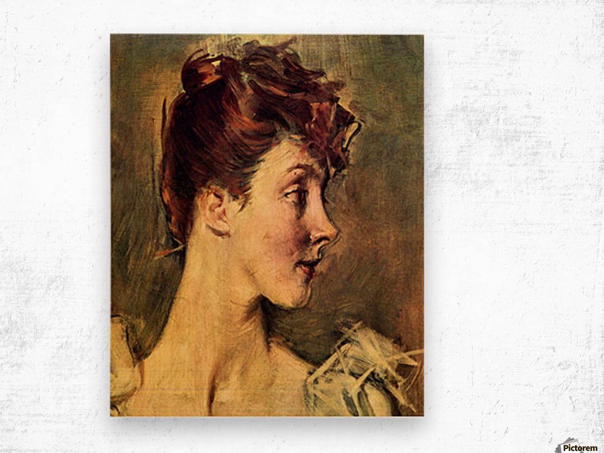 Portrait of Countess de Leusse, detail by Giovanni Boldini Wood print