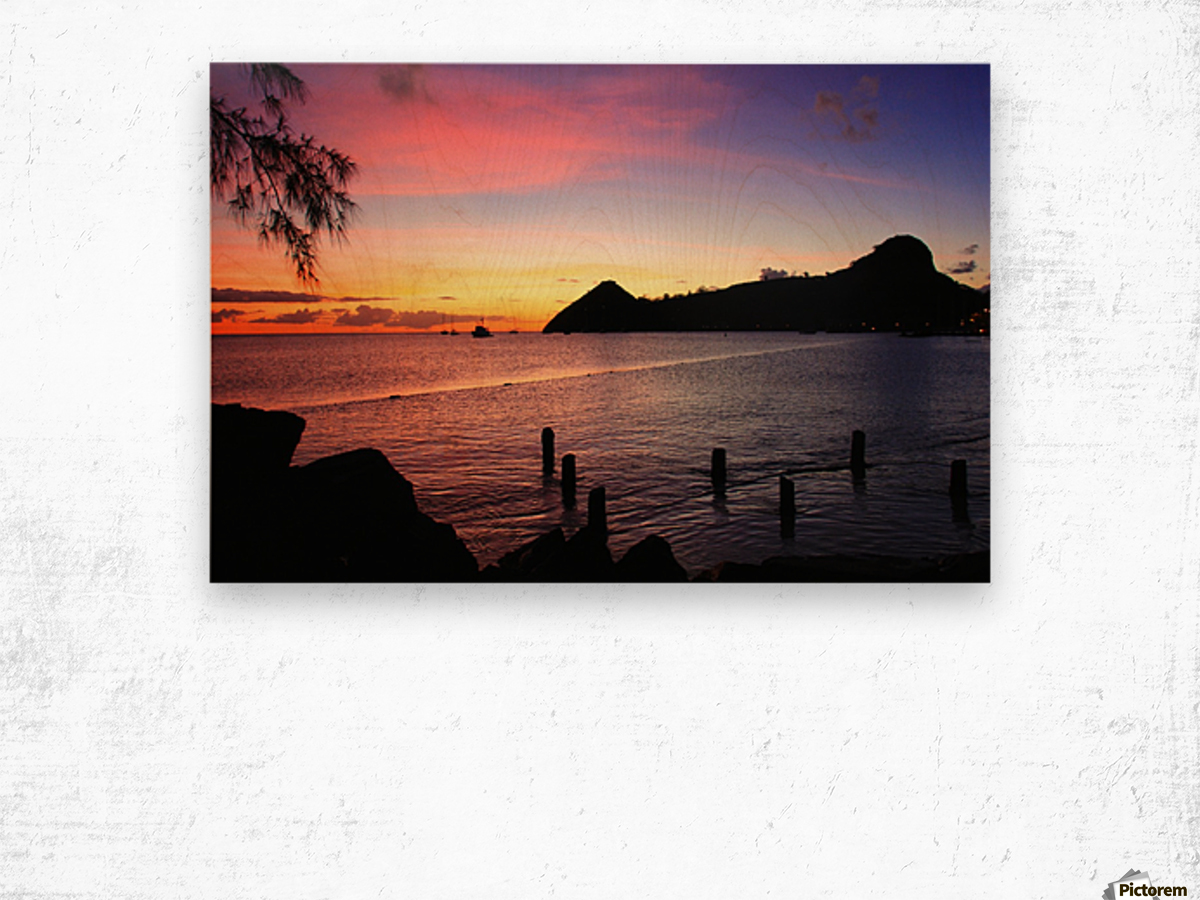 Sunset looking at Pigeon Island Wood print