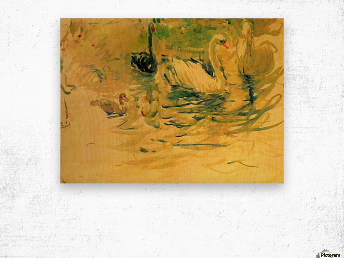 Swans by Morisot Wood print