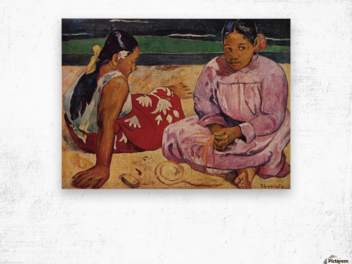 Tahitian Women on Beach by Gauguin Wood print