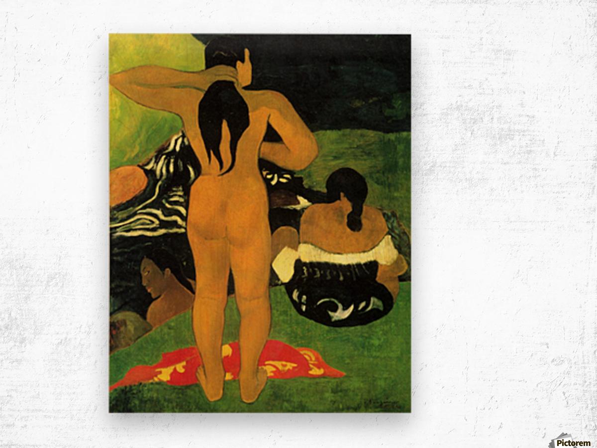Tahitians on Beach by Gauguin Wood print