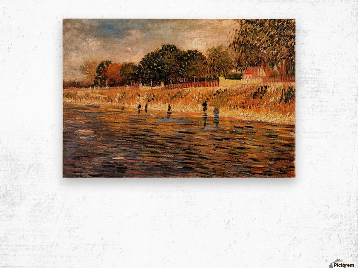 The Banks of the Seine by Van Gogh Wood print