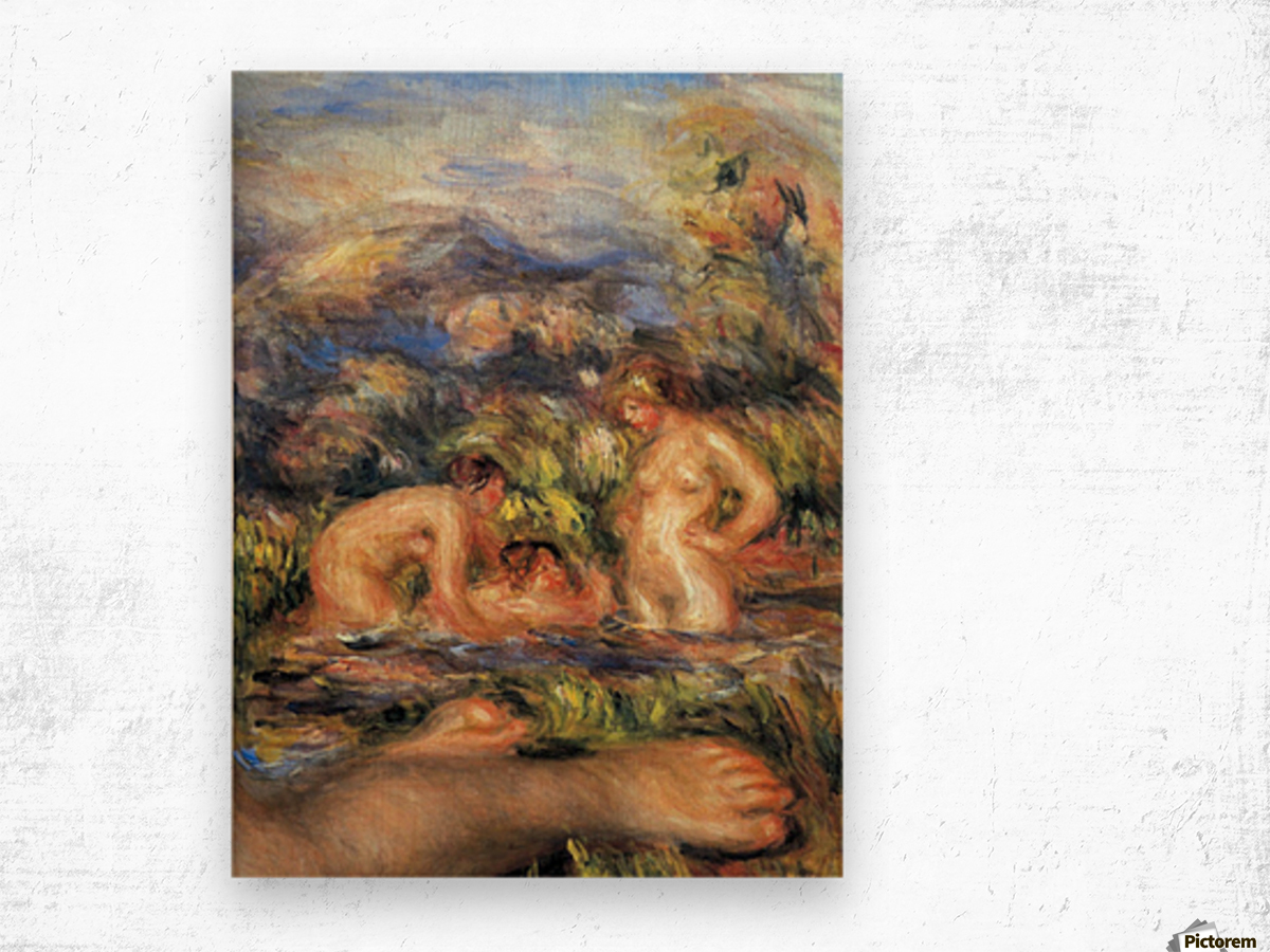 The bathers (Detail) by Renoir Wood print