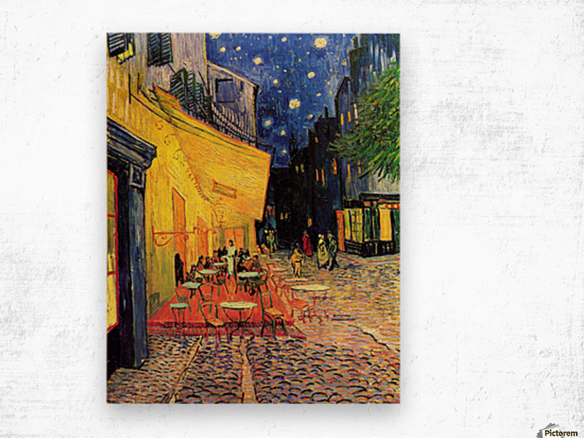 The Cafe Terrace on the Place du Forum Arles at Night by Van Gogh Wood print