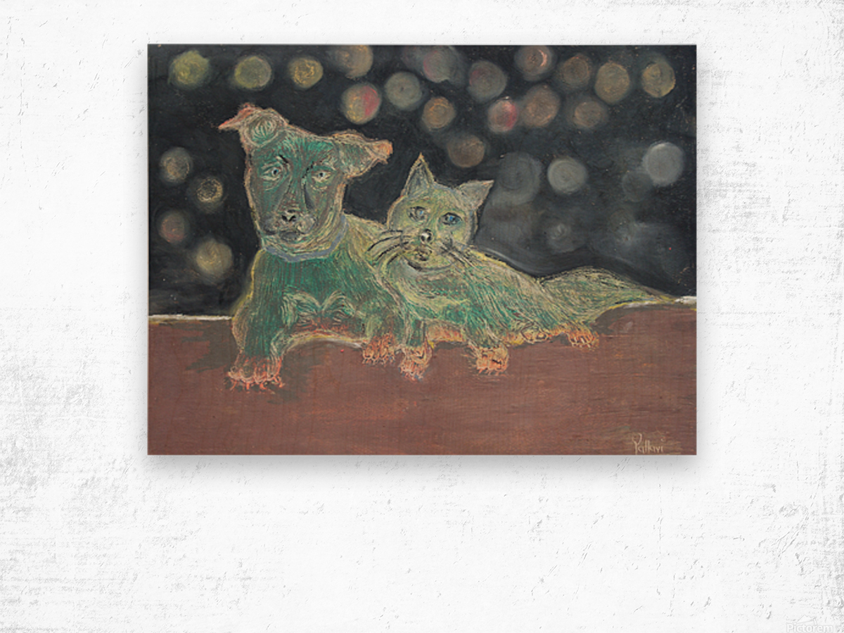 Dogs and cats Wood print