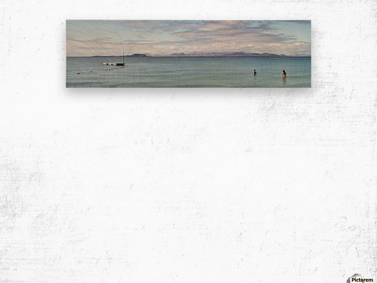 Panorama of Pontoon and Fuerteventura Wood print