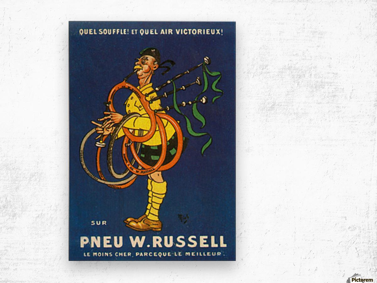 Pneu W.Russell Impression sur bois