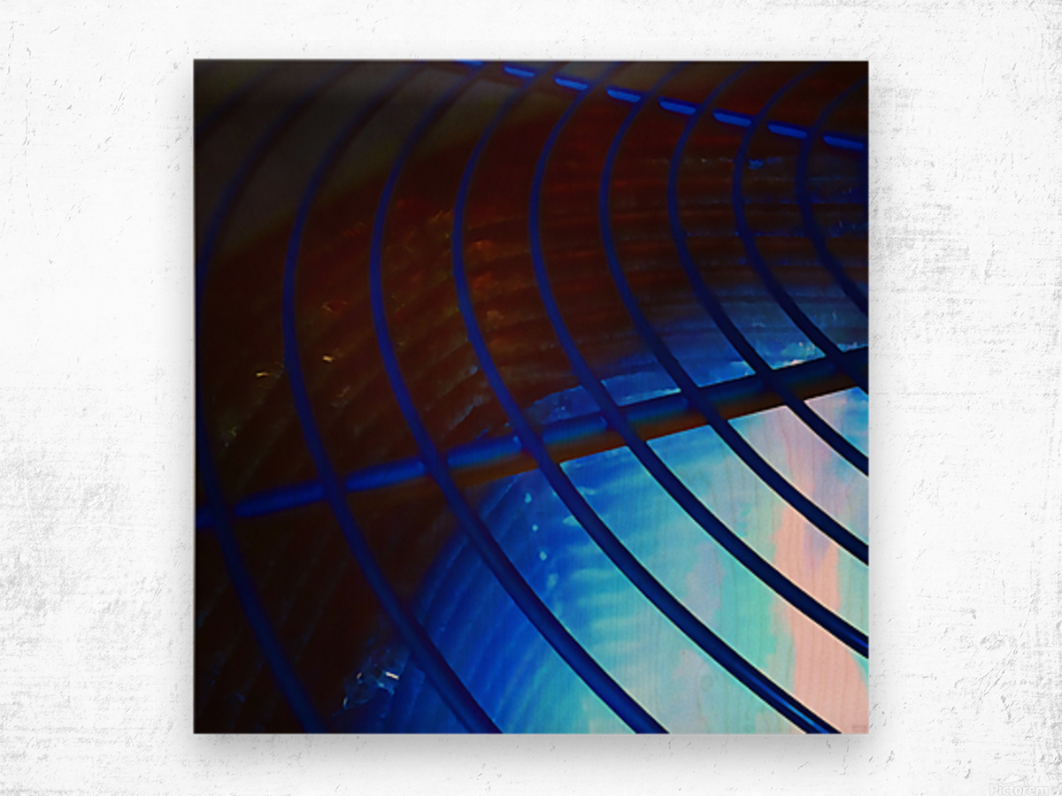 abstract blue curved lines Wood print