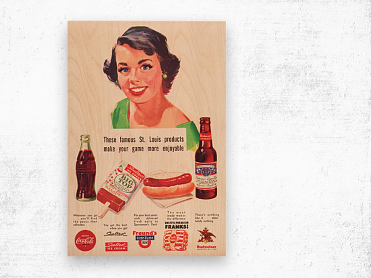 Vintage St. Louis Sportsman Park Concessions Ad Wood print