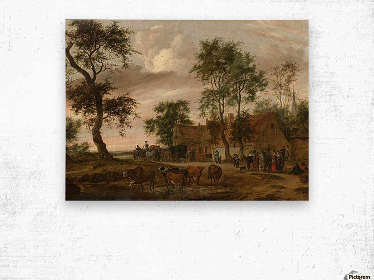 A village landscape with carriages outside an inn Wood print