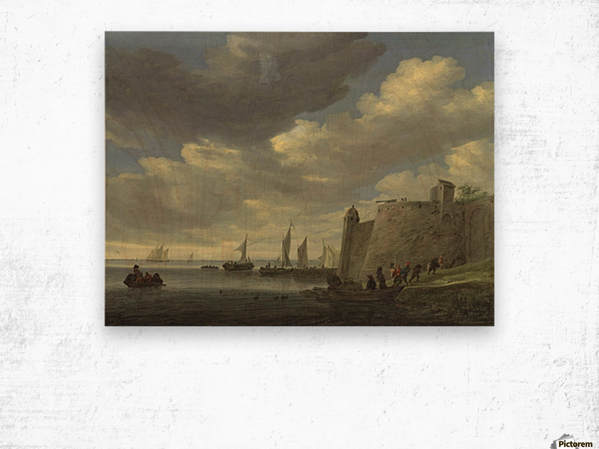 A river estuary with figures pulling in their nets by a fort Wood print