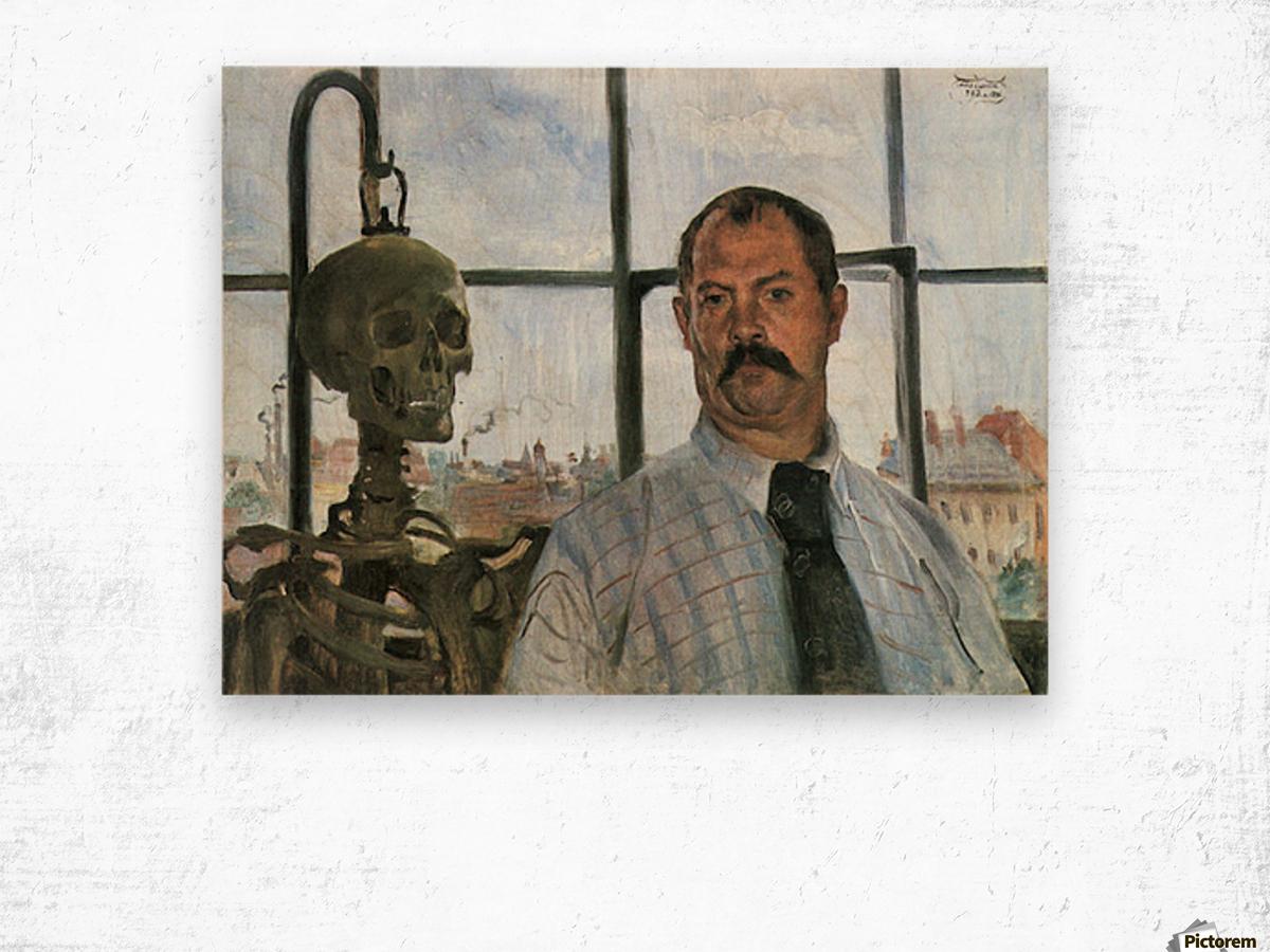 Self Portrait with Skeleton by Lovis Corinth Wood print