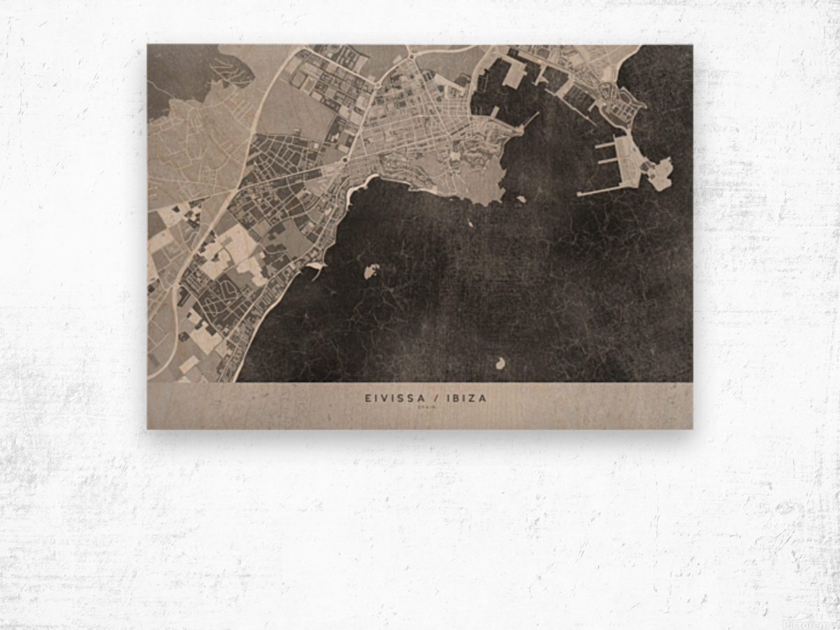 Gray vintage map of Ibiza Spain Wood print