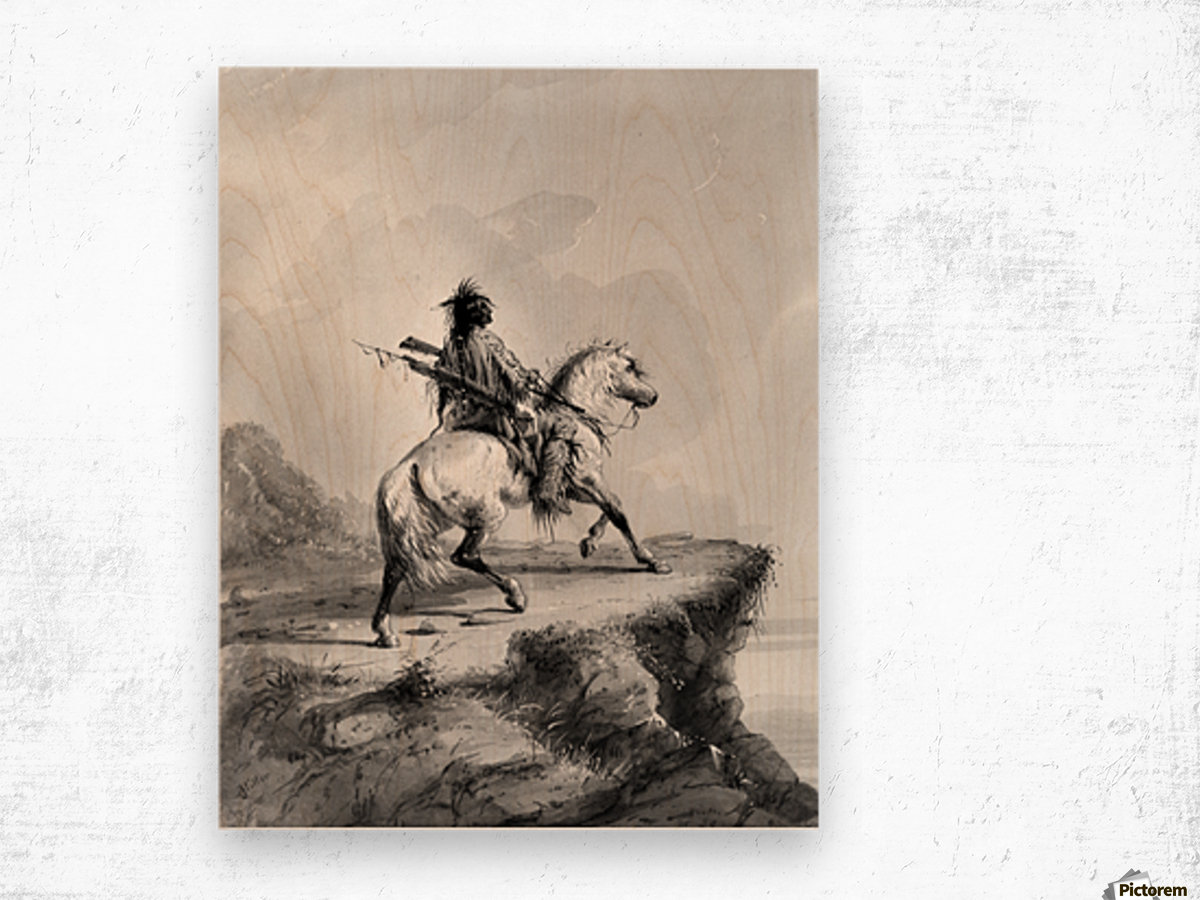 Crow Indian on the Lookout Wood print