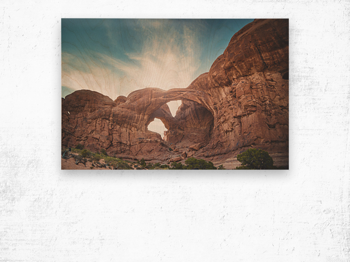 The Double Arch Wood print