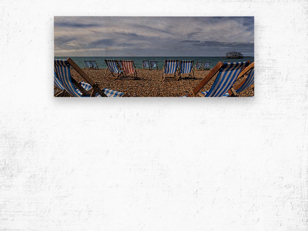 Deckchairs In Brighton Wood print