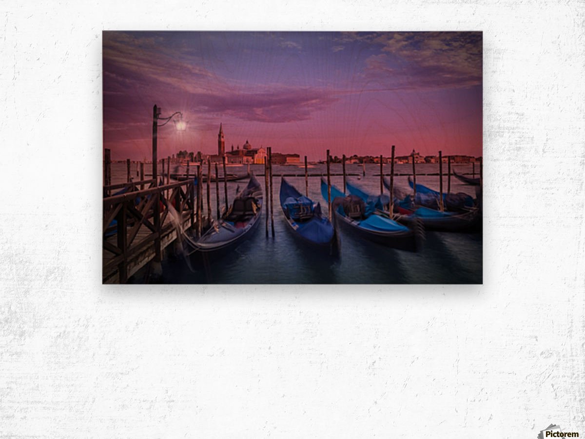 VENICE Gondolas at Sunset Wood print