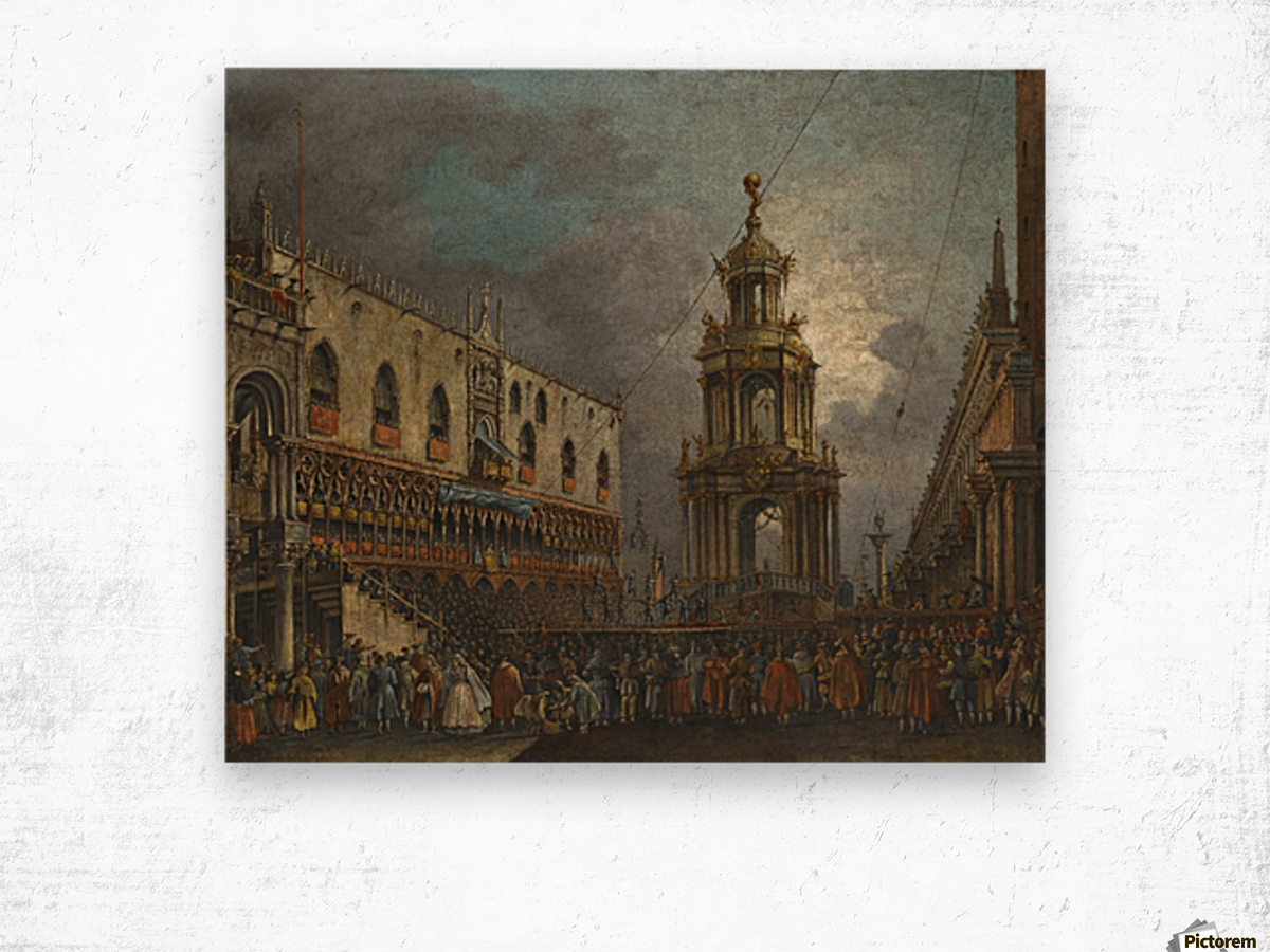 A view of the Piazzetta at Carnival, Venice Wood print