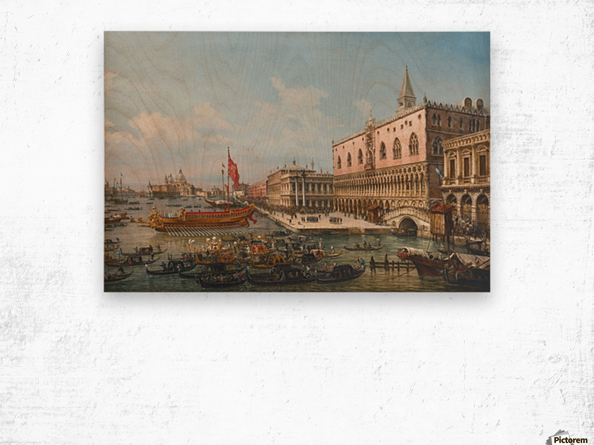 The Departure of the Bucintoro from San Marco to San Nicolo Del Lid Wood print