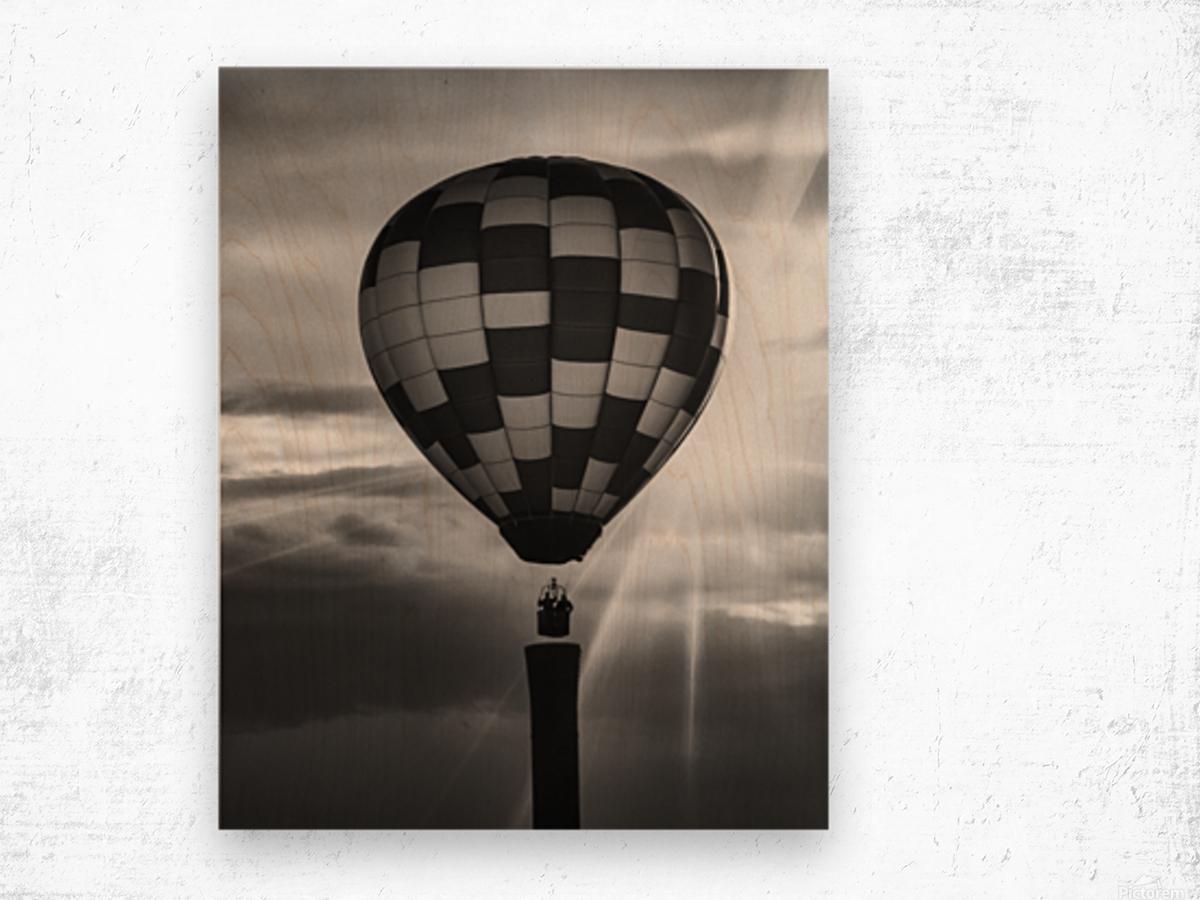 Hot Air Balloon On A Smokestack Wood print