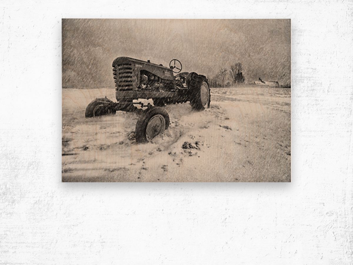 Winter Snow  Mountain Farm And Old Tractor Wood print
