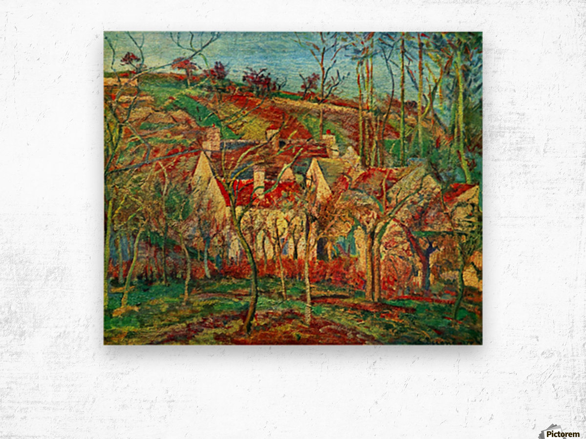 The red roofs by Pissarro Wood print
