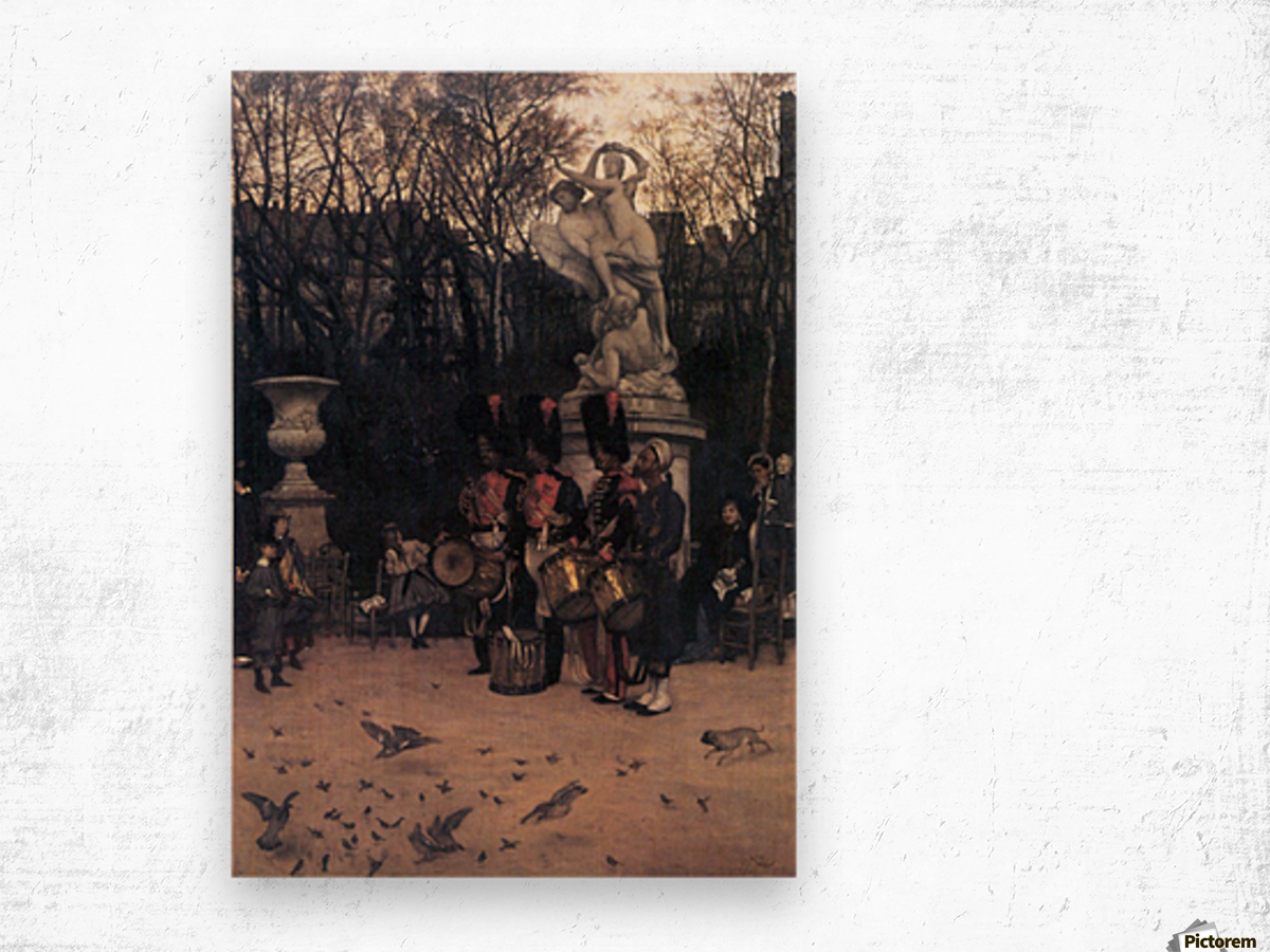 The return march in the Tuileries by Tissot Wood print