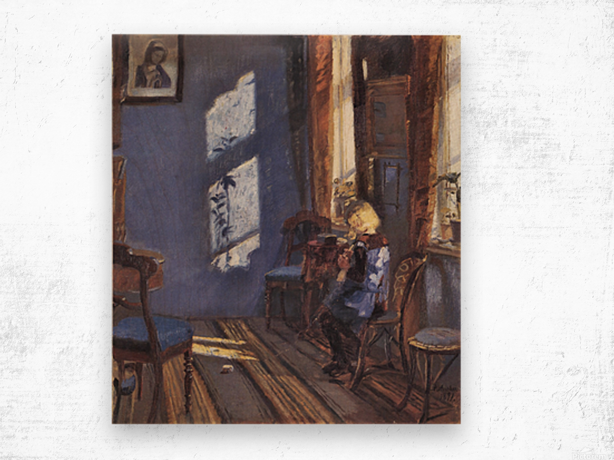 Sunshine in the blue room by Anna Ancher Wood print