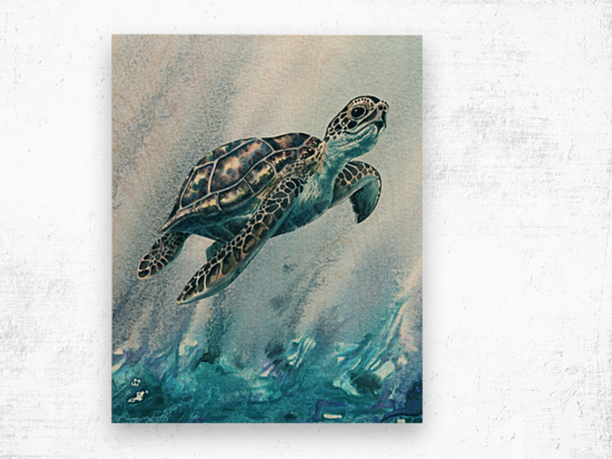 Watercolor Giant Turtle In Abstract Seaweed And Water XI Wood print