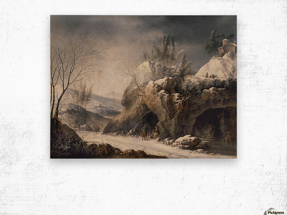 Paesaggio invernale con una famiglia di contadini Wood print