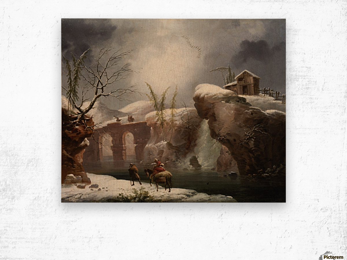 A winter landscape with travellers by a river Wood print