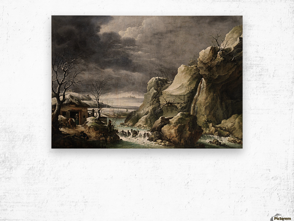 Travellers approaching a barn in a winter landscape, under a stormy sky Wood print
