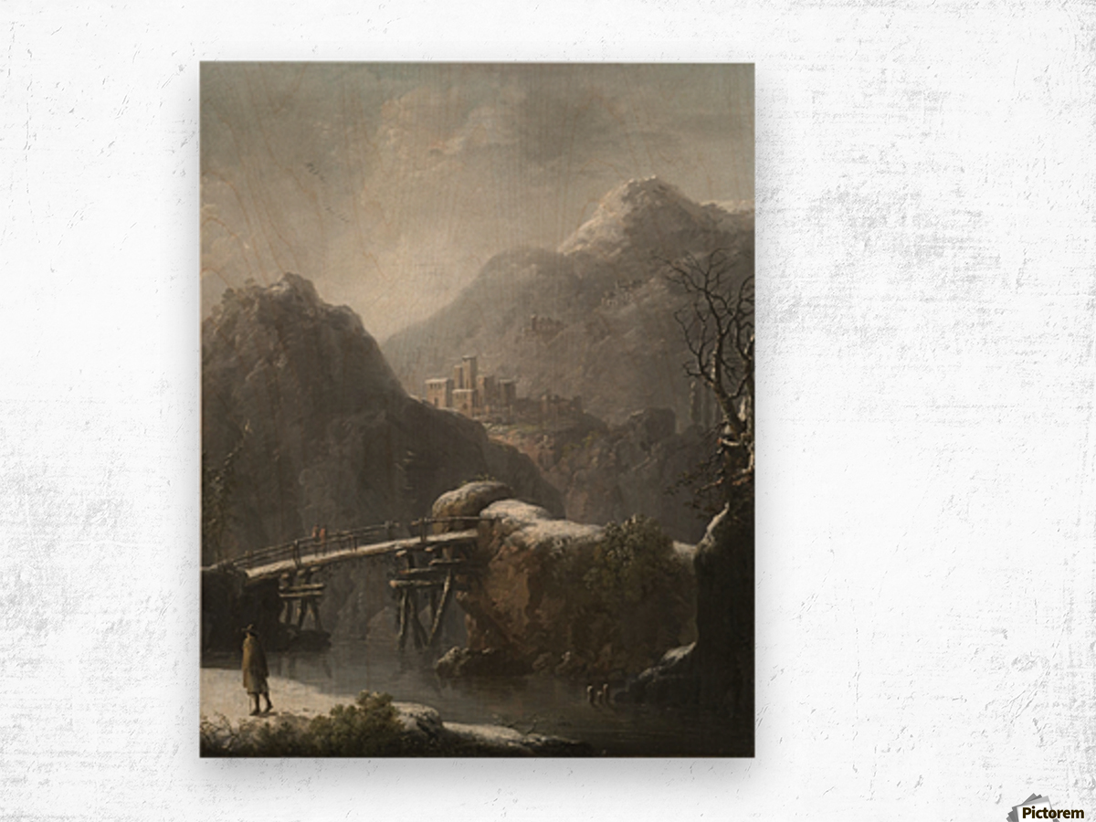 A winter landscape with travellers before a bridge, a Hilltop Town beyond Wood print