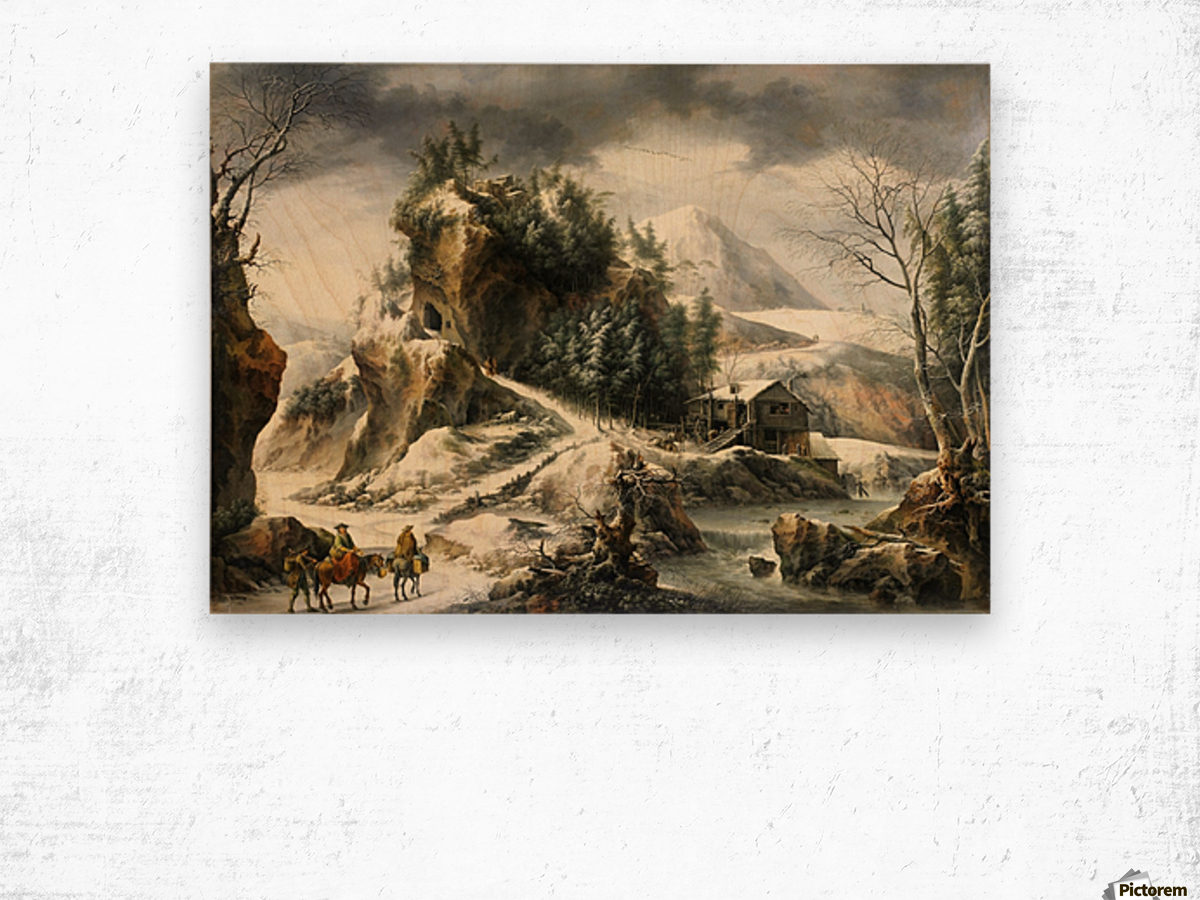 Winter landscape with a cavern and travellers Wood print