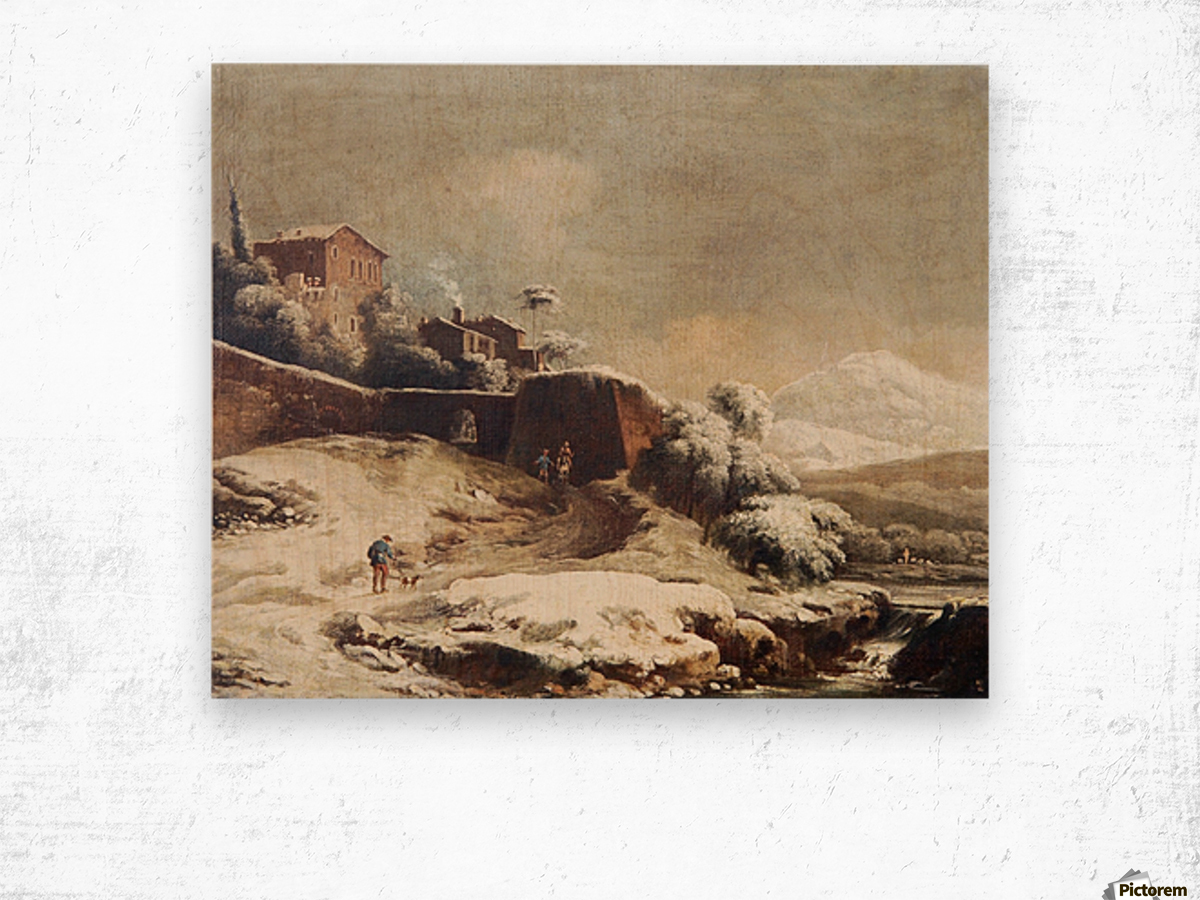 Winter landscape with village and mountains beyond Wood print