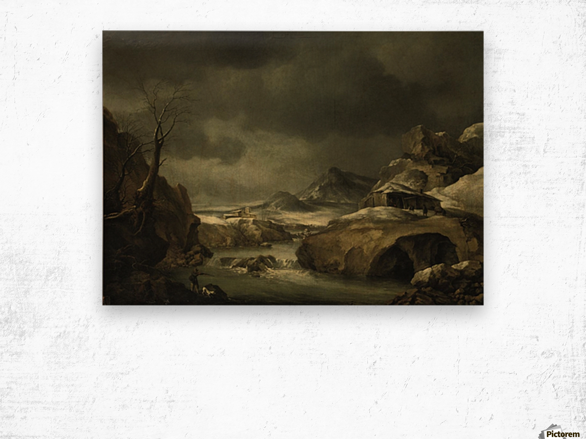 A mountainous winter landscape with a traveller arriving at a cottage Wood print