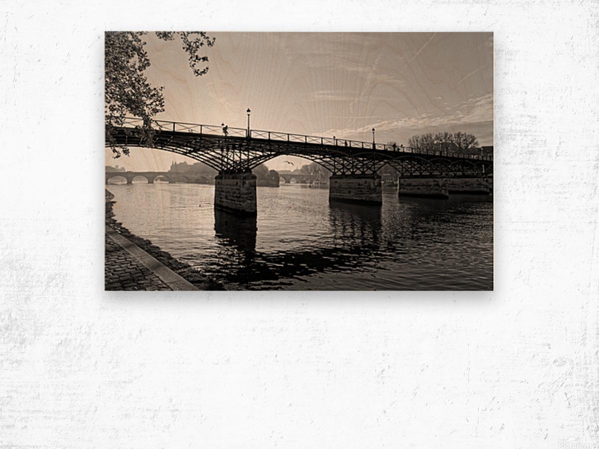 Pont des arts sunrise Impression sur bois
