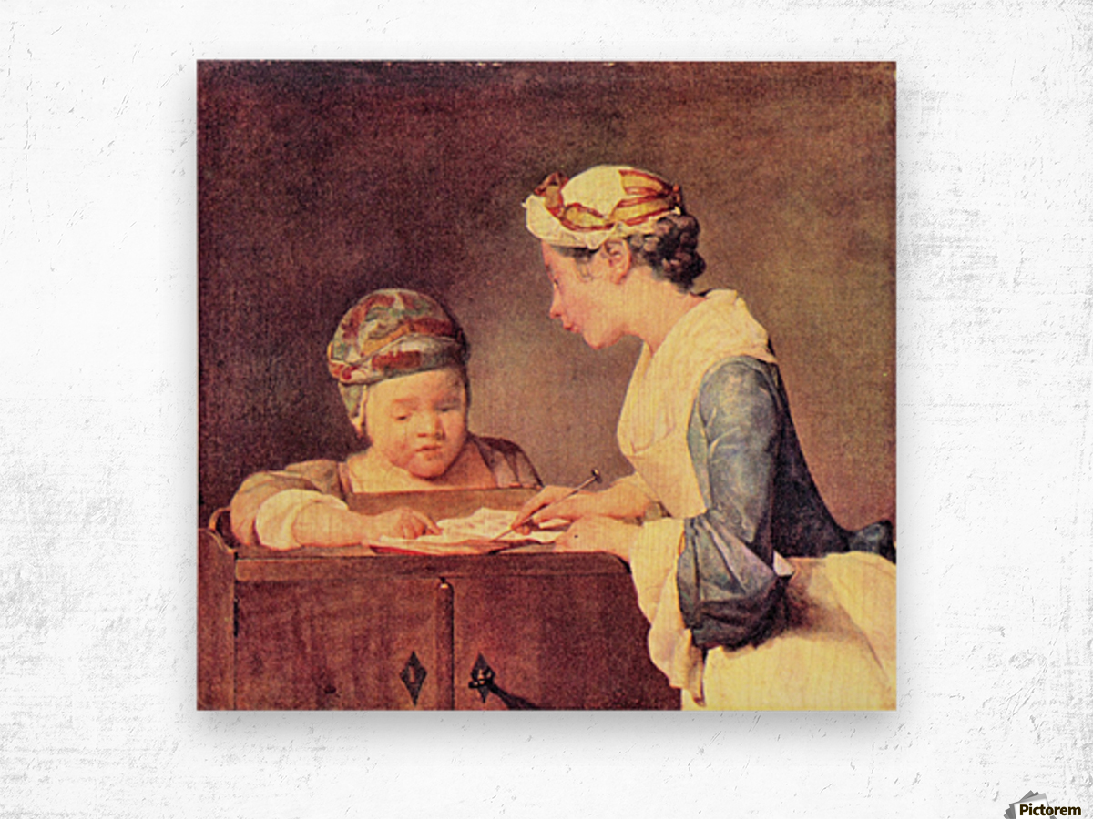 The young teacher by Jean Chardin Wood print