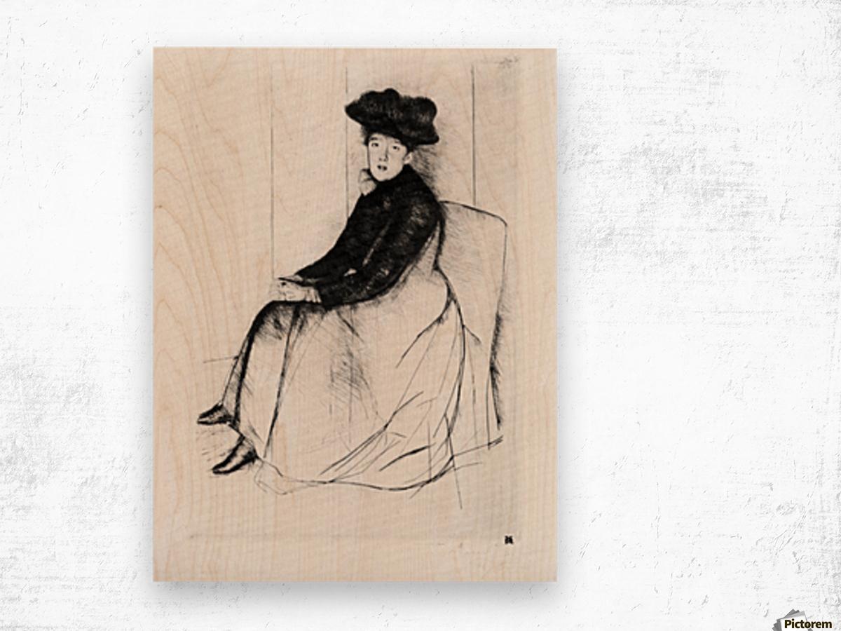 Thoughtfully by Cassatt Wood print