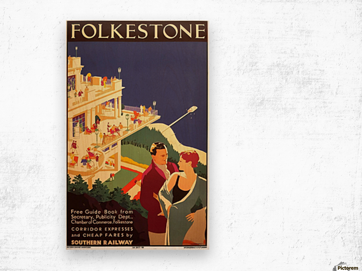English Art Deco Period Travel Poster for Folkestone by Danvers, 1934 Wood print