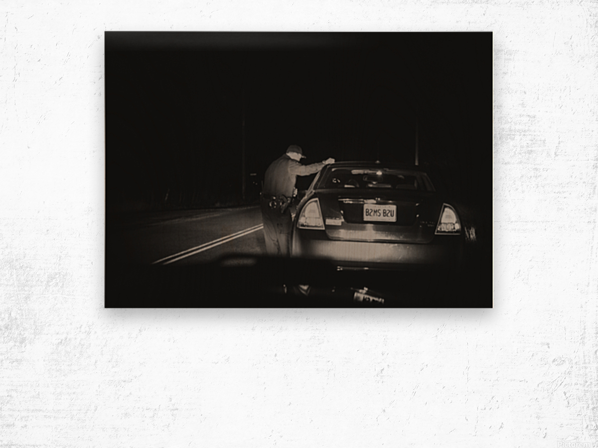 Late Night Traffic Stop Wood print