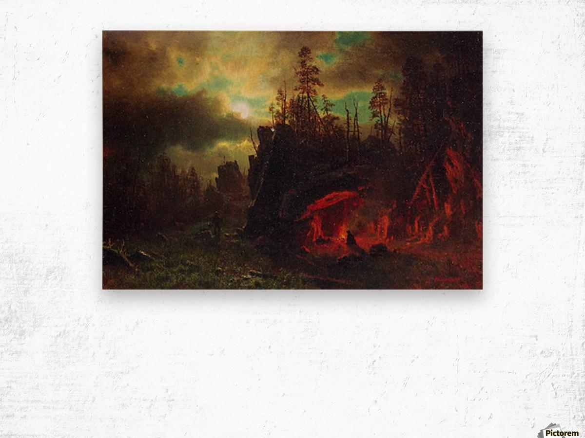 Trapper s camp by Bierstadt Wood print