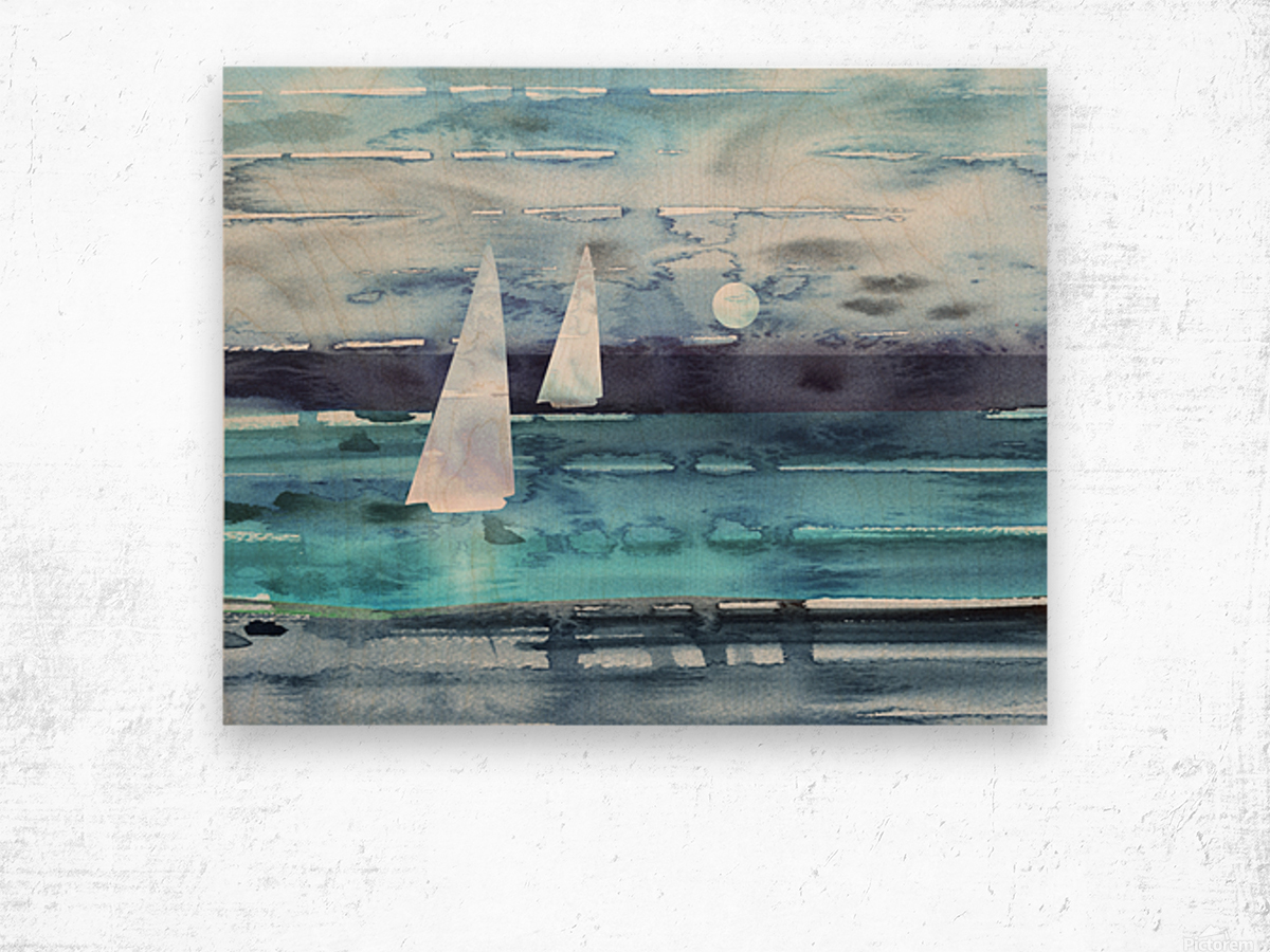 Beach House Art Sailboats At The Ocean Shore Seascape Painting XII Wood print