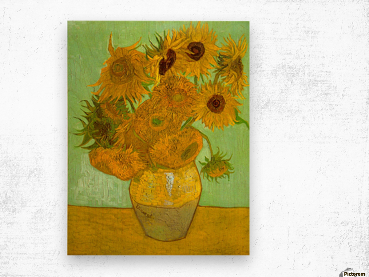 Twelve Sunflowers by Van Gogh Wood print