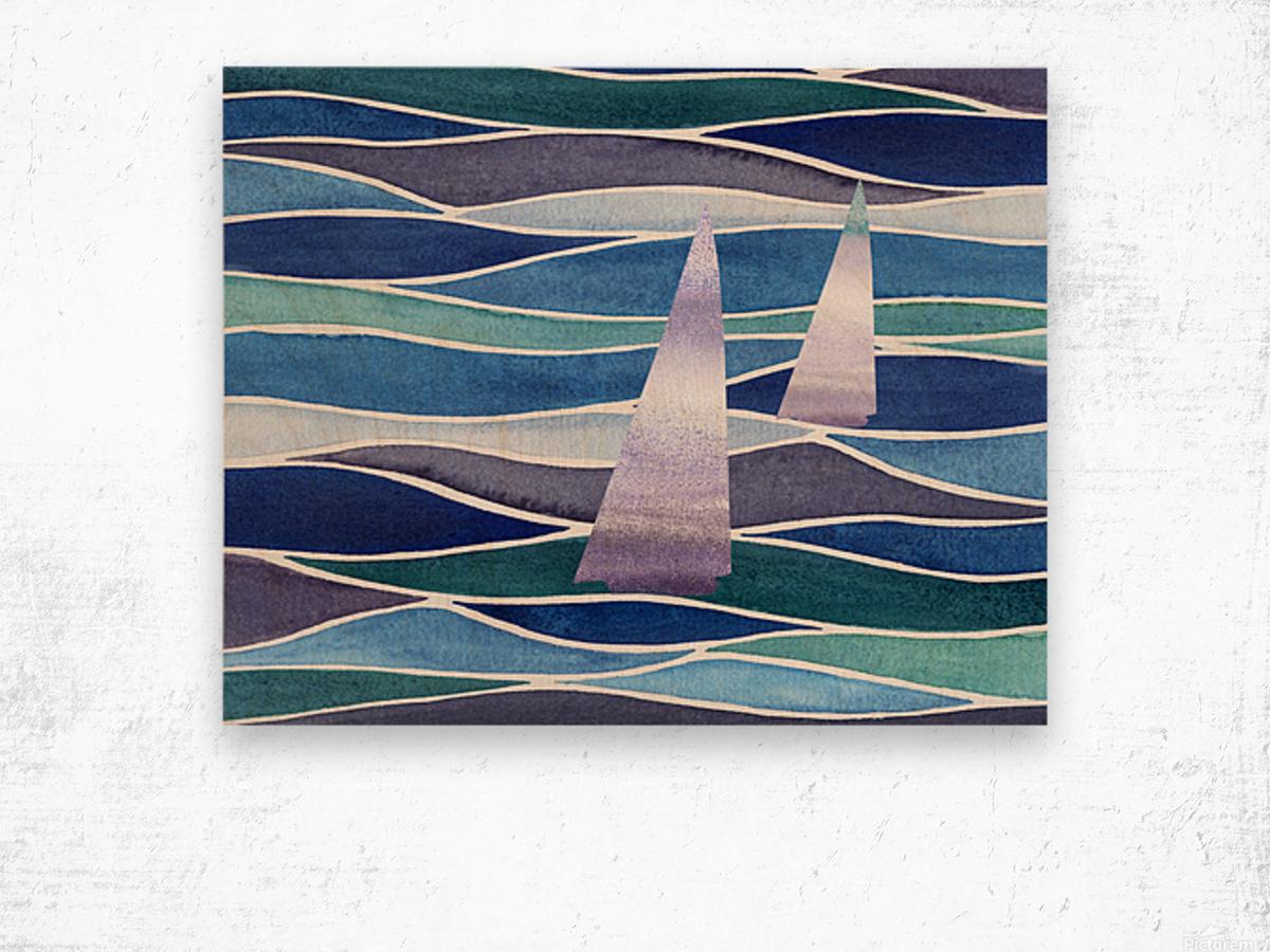 Sailboats At The Ocean Shore Seascape Painting Beach House Art Decor XIV Wood print