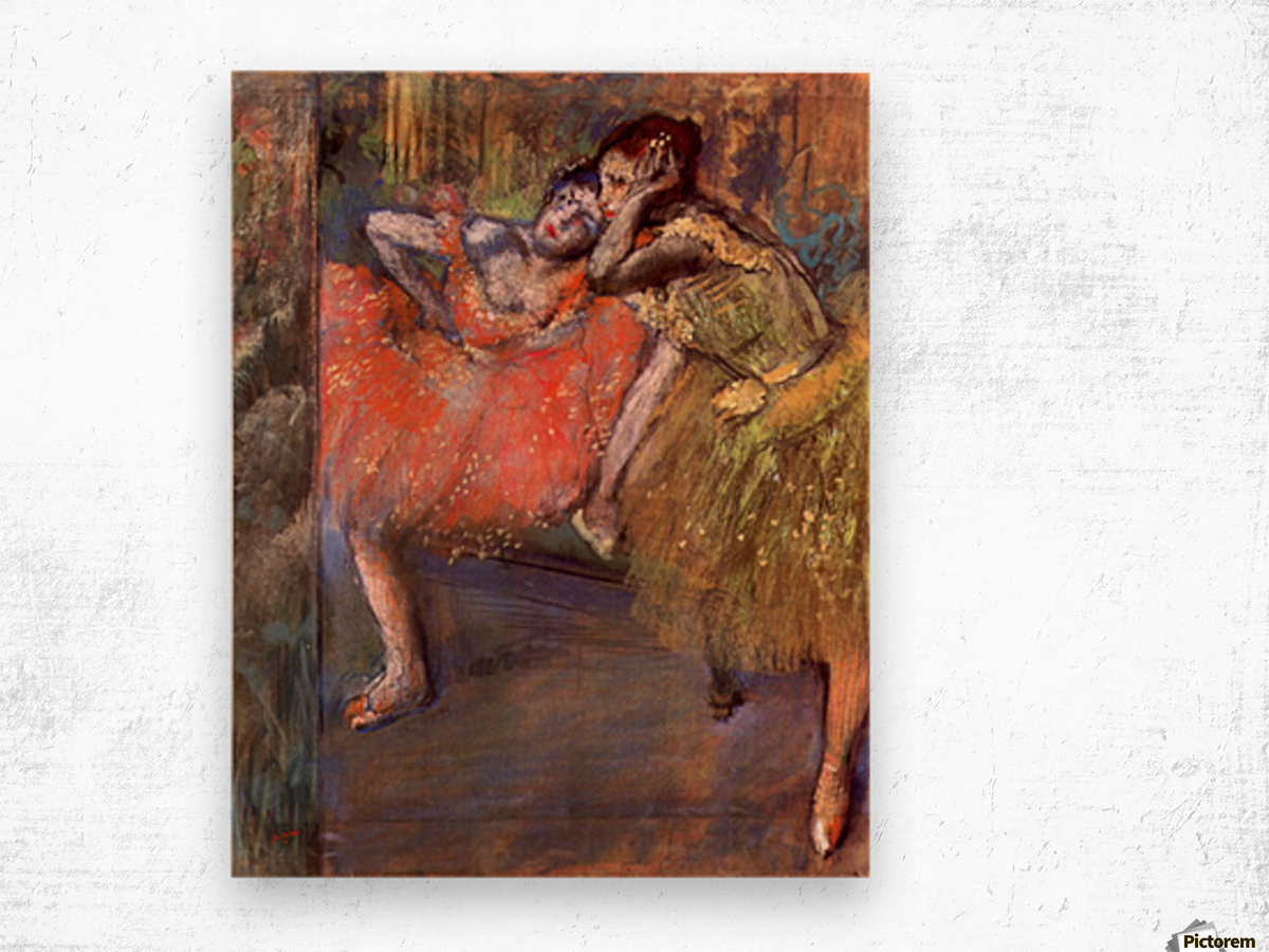 Two dancers behind the scenes by Degas Wood print
