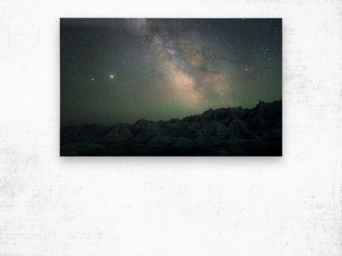 Milky Way Above The Badlands Wood print