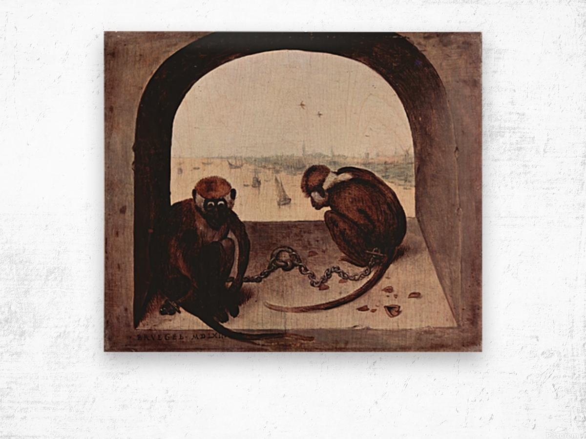 Two monkeys by Pieter Bruegel Wood print