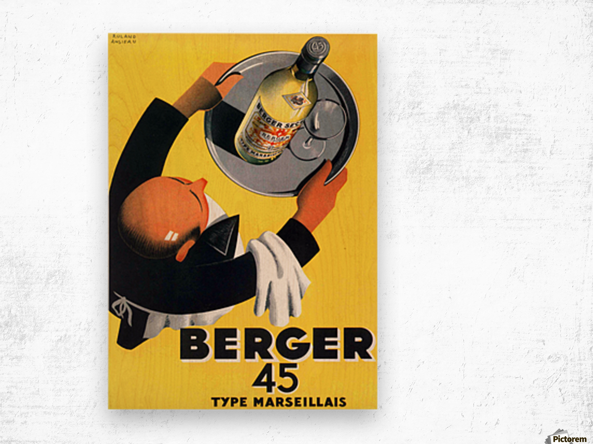 Berger 45 Poster Ad Roland Ansieau 1935 Wood print