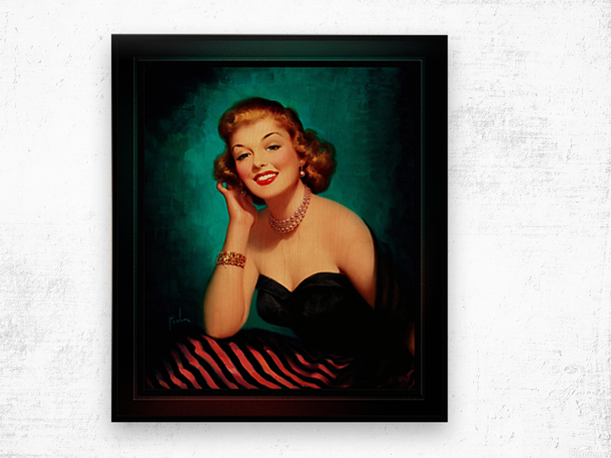 Evening Glamour Girl by Art Frahm Glamour Pin-up Vintage Art Wood print